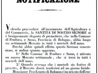 Notificazione del 1857 per il mercato settimanale a Sasso Marconi