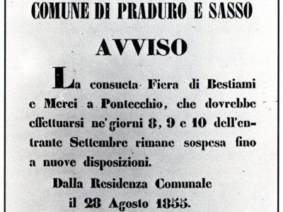 28 agosto 1855 manifesto della sospensione della Fiera di Pontecchio