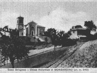 Cartolina della chiesa di Mongardino - Sasso Marconi
