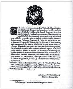 Giugno 1673: avviso alla popolazione