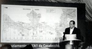 10 luglio 2006: il Ministro Di Pietro in località Cinque Cerri in occasione della cerimonia di inaugurazione della nuova viabilità autostradale (foto Luigi Ropa Esposti)
