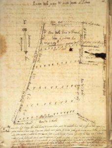 Mappa allegata al documento che tratta della permuta di due predi avvenuta nel 1675