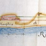 Mappa del 1788 che mostra la Rupe del Sasso con al suo interno la vecchia chiesa